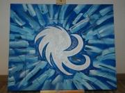 tableau abstrait abstrait bleu blanc : Abstrait bleu