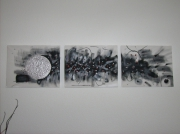 tableau abstrait : Triptyque gris