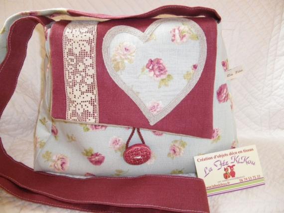 ART TEXTILE, MODE sac-à-main coton-et-lin style romantique  - sac à main style romantique