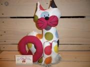 deco design autres chat decoration caleporte calelivres tissus ,a pois : chat cale-porte