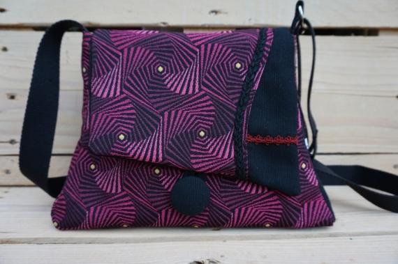 ARTISANAT D'ART sac graphique, sac a sac graphique sac violet sac fait-main Abstrait  - Sac évasé graphique violet/bordeaux