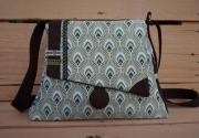 art textile mode abstrait sac chic sac art deco sac vertmarron sac bandouliere : sac à main, bandoulière