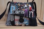 art textile mode sac ,a main tissu mod fait main artisanal theme paris tour ei fait en france : sac à main tissu thème Paris