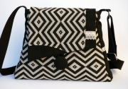 art textile mode abstrait sac noir sac graphique sac chic sac evase noir : Sac graphique noir et blanc
