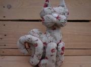 art textile mode animaux chat leste fleurs chat lin cale porte chat cadeau original chat decoration lin : Chat décoration lesté lin fleurs
