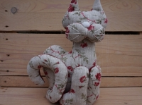 Chat décoration lesté lin fleurs