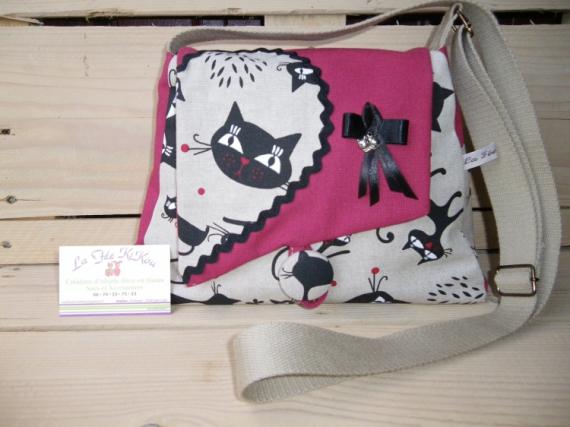 """ART TEXTILE, MODE sac à main tissu chat humoristique personnalisé fait maison made in Animaux  - Sac à main coton rouge et tissu imprimé """"chat humoristique&"""