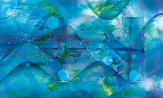 """TABLEAU PEINTURE abstrait eau onde musique Abstrait  - Ondes electroacoustiques """"ondes 33"""""""