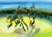 tableau abstrait arene taureau sable : Arena