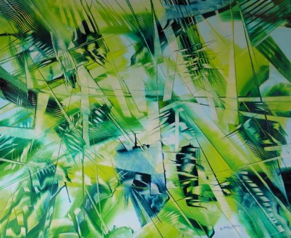 TABLEAU PEINTURE Louvre biologique abstrait Abstrait Peinture a l'huile  - Instant végétal
