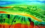 tableau abstrait source paysage : La source
