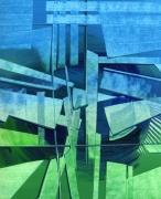 tableau abstrait bleu vert geometrie tourbillon : Le vent