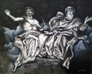 tableau personnages dieu jesus paradis nuage : le père et le fils