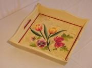deco design fleurs plateau fleurs craquelage decoration : plateau fleuri craquelé