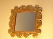 deco design autres miroir cire decoration : miroir doré carré