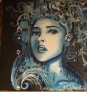tableau personnages bleu femme portrait : femme bleue