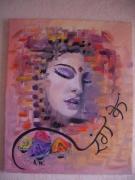 tableau personnages inde femme figuratif contemporain : couleurs d'inde
