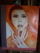 tableau personnages femme orange or moderne : femme orange