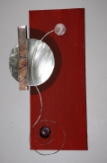 tableau abstrait acrylique metal bois : éclipse