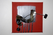 tableau abstrait acrylique metal bois : Vrille