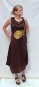 art textile mode autres mode femme robe : Robe chocolat/anis