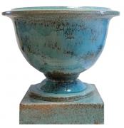 ceramique verre french planters grands pots de jardi sans le socle : COUPE CLASSIQUE TURQUOISE