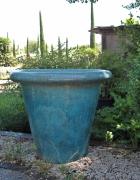 ceramique verre french planter grands pots de jardi grands vases : POT DROIT TURQUOISE L