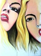 tableau personnages portrait deux filles art amitie : SOFIA & SARA
