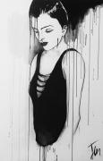 tableau personnages coulures portrait noir peinture : LISA