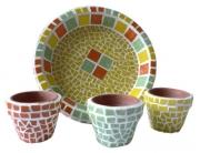 artisanat dart abstrait mosaique fleur mexique deco : Trio de pots pour cactus