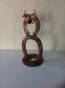 artisanat dart animaux sculpture vieux outils pont saint esprit france : Chat fer a cheval