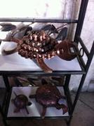 artisanat dart animaux sculpture vieux outils pont saint esprit france : Tortue chaine