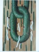 tableau abstrait ruban epines anneau : 6 rubans blancs