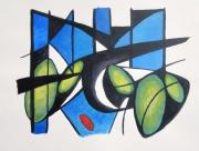 tableau abstrait enlevement sabines vert : Ovalement des sabines