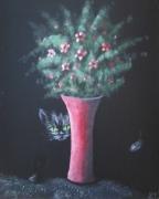tableau animaux chat fleur obscurite surprise : Cookie