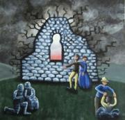 tableau personnages porte lumiere couple pierre : Porte de lumière