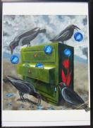 tableau autres surrealiste corbeaux ciel bulle : Corbeaux et bulles de ciel