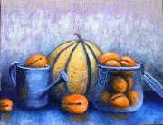 tableau nature morte melon ete fruit abricot : Abricots et melons