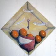 tableau nature morte orange plume equilibre clef : Oranges et plumes