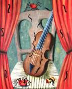 tableau autres surrealiste violon pomme araignee : Violon et pommes araignée