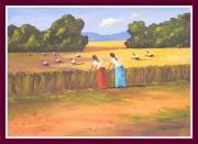 tableau femmes aux champs moissons du ble l ete : Les Moissons