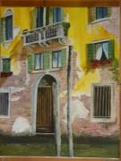 tableau architecture venise italie gondole maison : façade vénitienne