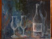 tableau nature morte verre vin aperitif bar : transparence