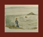 tableau marine marine femme voyage depart : Adieu