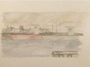 tableau marine espagne marine aquarelle voyage : A Coruna