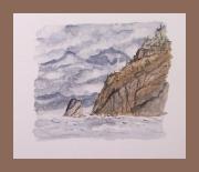 tableau marine acores iles phare rocher : Feu sur Santa Maria