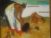 tableau scene de genre : MAMA AU MARIGOT
