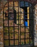 tableau architecture honfleur rue de la prison calvados normandie : Honfleur