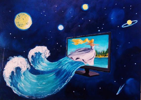 TABLEAU PEINTURE Univers - surréalisme - paysage imaginaire Peinture a l'huile  - Virtuel world