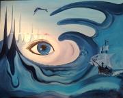tableau abstrait surrealisme oiel en peinture noela morisot peinture surrealiste : Abysses Eye